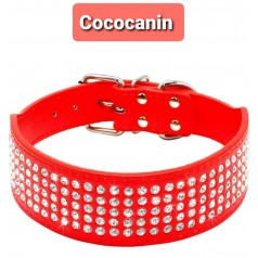 collier rouge Grand Chien strass