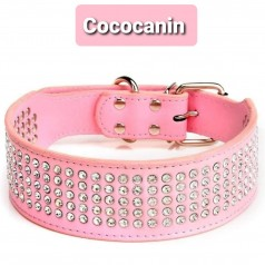 collier rose Grand Chien strass - COCO CANIN VERNET