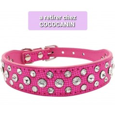 collier rose strass CHIEN - COCO CANIN VERNET
