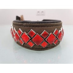 collier cuir marron strass rouge - COCO CANIN VERNET
